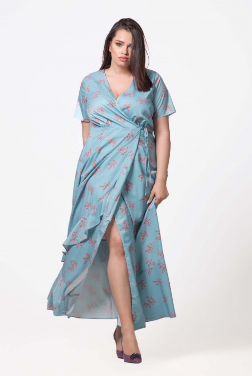 DRESS WITH WRAP IN DITSY PRINT